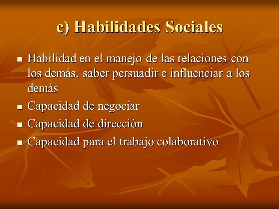 c) Habilidades Sociales Habilidad en el manejo de las relaciones con los demás, saber persuadir e influenciar a los demás Habilidad en el manejo de la