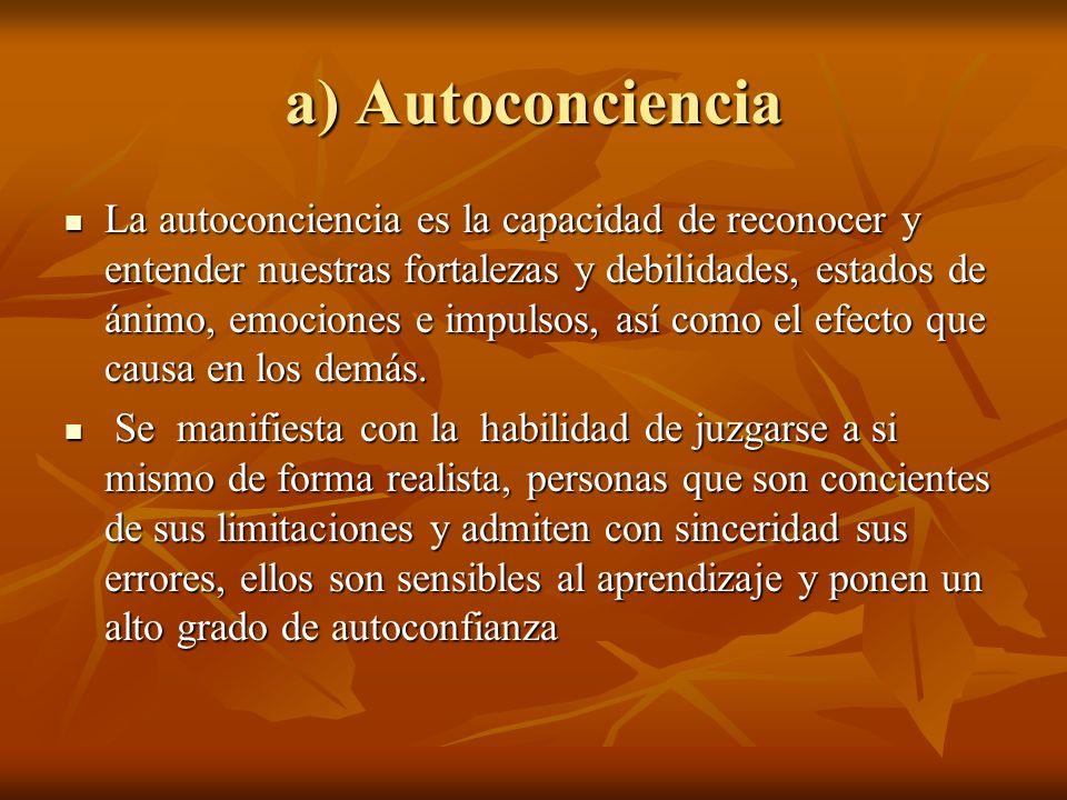 a) Autoconciencia La autoconciencia es la capacidad de reconocer y entender nuestras fortalezas y debilidades, estados de ánimo, emociones e impulsos,