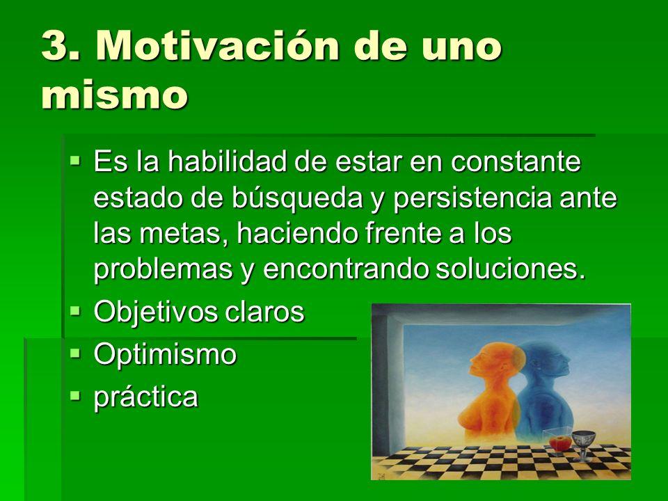 3. Motivación de uno mismo Es la habilidad de estar en constante estado de búsqueda y persistencia ante las metas, haciendo frente a los problemas y e