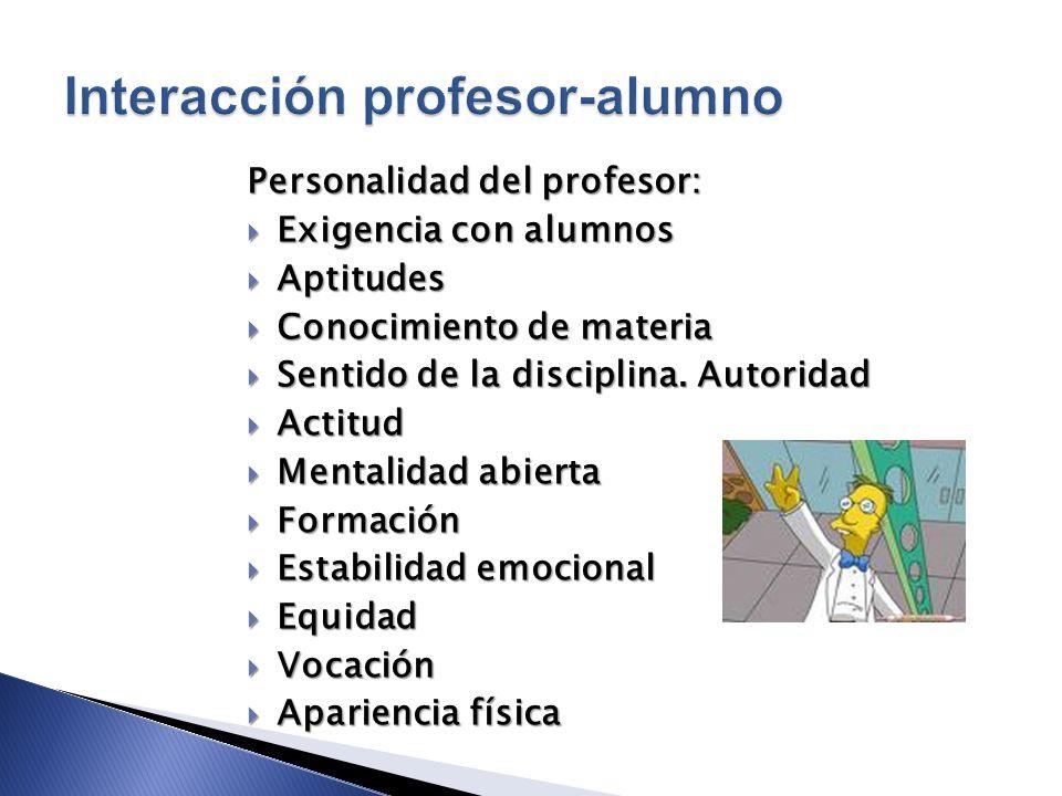 Exigencia con alumnos Exigencia con alumnos Aptitudes Aptitudes Conocimiento de materia Conocimiento de materia Sentido de la disciplina. Autoridad Se