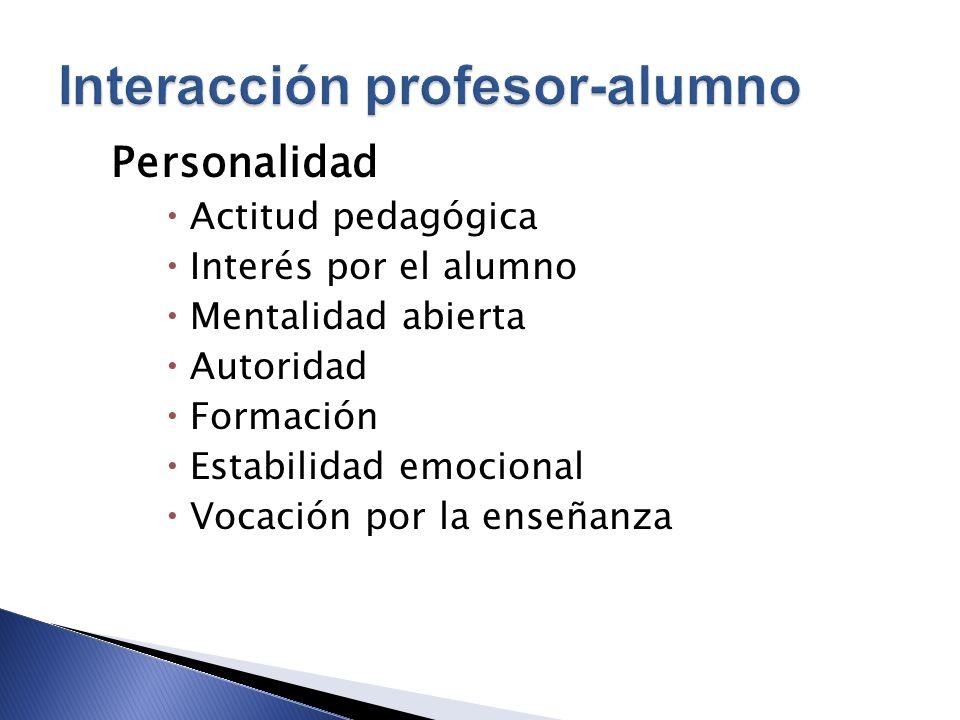 Personalidad Actitud pedagógica Interés por el alumno Mentalidad abierta Autoridad Formación Estabilidad emocional Vocación por la enseñanza