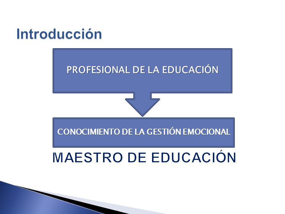 CONOCIMIENTO DE LA GESTIÓN EMOCIONAL PROFESIONAL DE LA EDUCACIÓN
