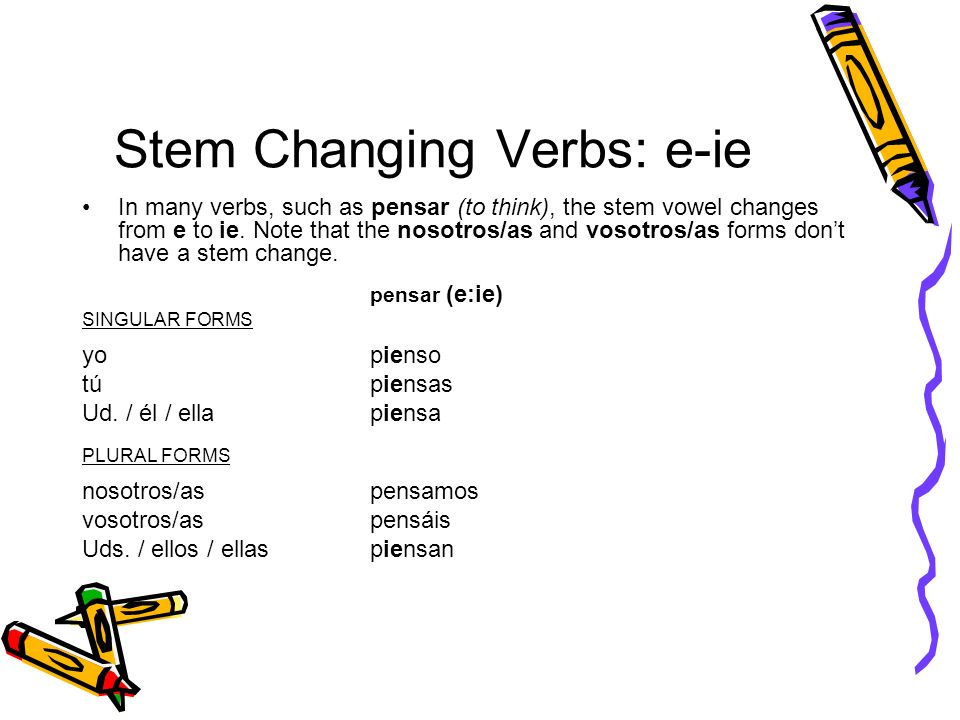 Stem Changing Verbs: e-ie In many verbs, such as pensar (to think), the stem vowel changes from e to ie. Note that the nosotros/as and vosotros/as for