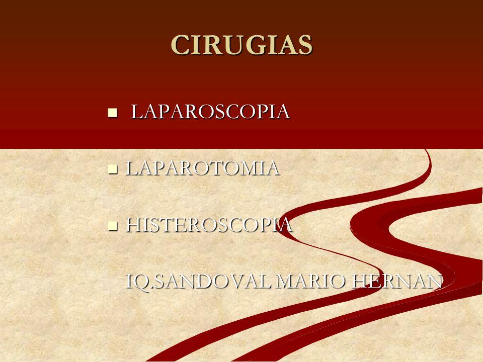 LAPAROSCOPIA QUIRURGICA 4.- RESECCION Y ABLACION DE ENDO- 4.- RESECCION Y ABLACION DE ENDO- METRIOSIS METRIOSIS 5.- BIOPSIA Y RESECCION DE CUÑA DE OVARIO 5.- BIOPSIA Y RESECCION DE CUÑA DE OVARIO 6.- MIOMECTOMIA 6.- MIOMECTOMIA 7.- HISTERECTOMÍA VAGINAL ASISTIDA POR LAPAROSCOPIA 7.- HISTERECTOMÍA VAGINAL ASISTIDA POR LAPAROSCOPIA