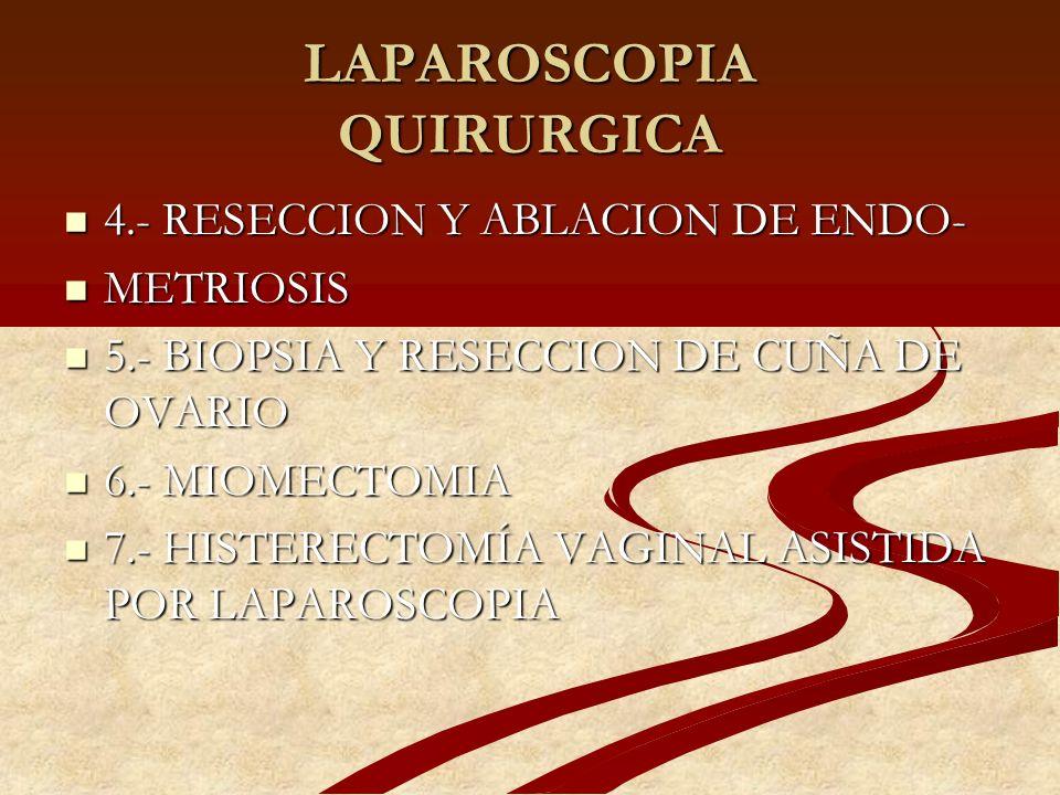 LAPAROSCOPIA QUIRURGICA 4.- RESECCION Y ABLACION DE ENDO- 4.- RESECCION Y ABLACION DE ENDO- METRIOSIS METRIOSIS 5.- BIOPSIA Y RESECCION DE CUÑA DE OVA
