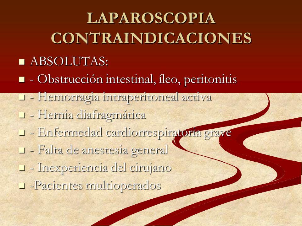 LAPAROSCOPIA CONTRAINDICACIONES ABSOLUTAS: ABSOLUTAS: - Obstrucción intestinal, íleo, peritonitis - Obstrucción intestinal, íleo, peritonitis - Hemorr