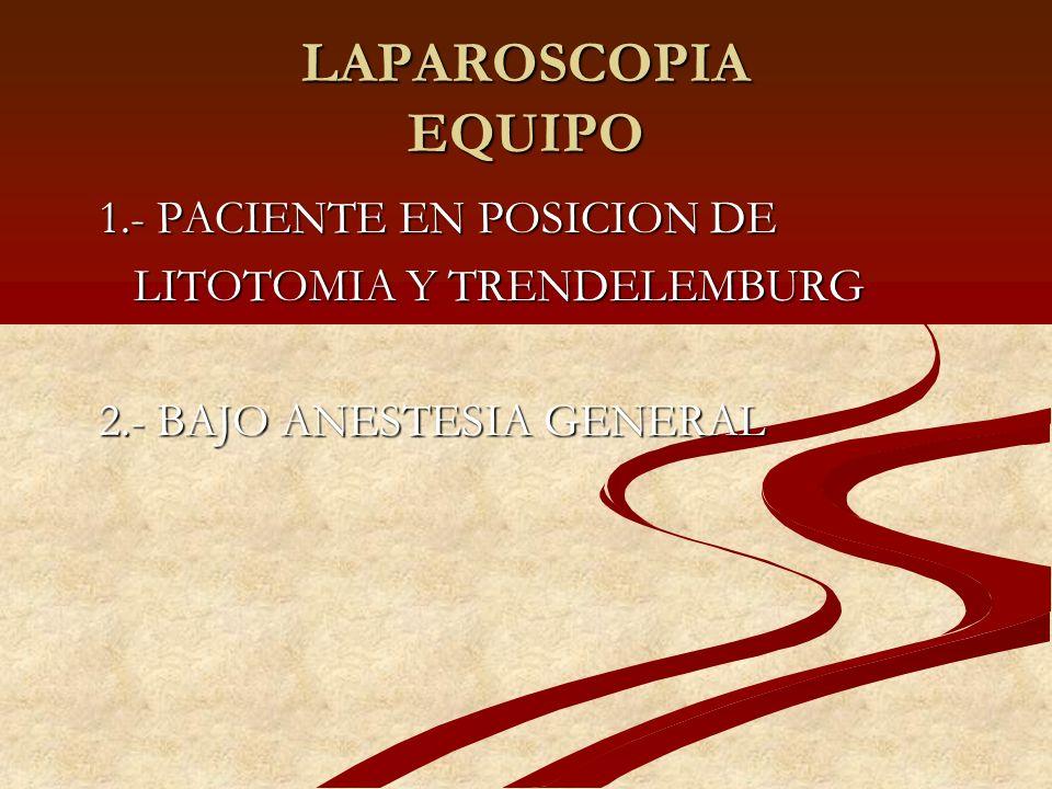 LAPAROSCOPIA EQUIPO 1.- PACIENTE EN POSICION DE 1.- PACIENTE EN POSICION DE LITOTOMIA Y TRENDELEMBURG LITOTOMIA Y TRENDELEMBURG 2.- BAJO ANESTESIA GEN