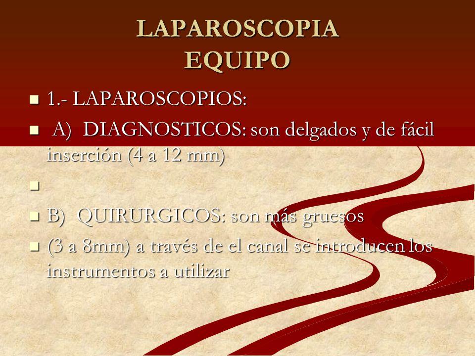 LAPAROSCOPIA EQUIPO 1.- LAPAROSCOPIOS: 1.- LAPAROSCOPIOS: A) DIAGNOSTICOS: son delgados y de fácil inserción (4 a 12 mm) A) DIAGNOSTICOS: son delgados