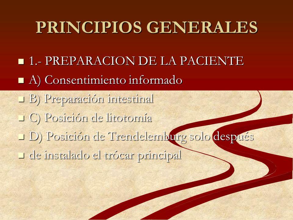 PRINCIPIOS GENERALES 1.- PREPARACION DE LA PACIENTE 1.- PREPARACION DE LA PACIENTE A) Consentimiento informado A) Consentimiento informado B) Preparac