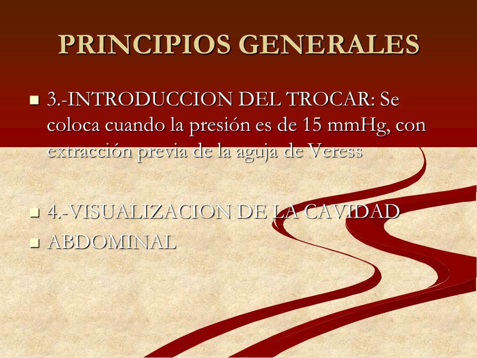 PRINCIPIOS GENERALES 3.-INTRODUCCION DEL TROCAR: Se coloca cuando la presión es de 15 mmHg, con extracción previa de la aguja de Veress 3.-INTRODUCCIO