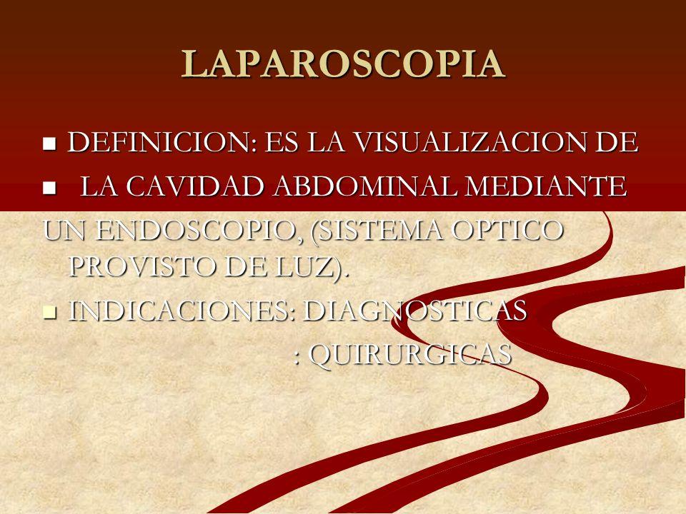 LAPAROSCOPIA COMPLICACIONES - Neumoperitoneo, quemadura por electrocoagulación - Neumoperitoneo, quemadura por electrocoagulación - Lesión de vasos sanguíneos: pared abdominal, grandes vasos y vasos mesentéricos - Lesión de vasos sanguíneos: pared abdominal, grandes vasos y vasos mesentéricos - Lesión intestinal, vesical y uréter - Lesión intestinal, vesical y uréter - Hernias en lugar de inserción del trócar - Hernias en lugar de inserción del trócar -Desgarro de cuello, perforación uterina -Desgarro de cuello, perforación uterina - Más frecuentes: -Reingreso (4.2%) - Más frecuentes: -Reingreso (4.2%) -Hemorragia (6.8%) -Hemorragia (6.8%) -Laparotomía no programada (8.9%) -Laparotomía no programada (8.9%) -Hosp.