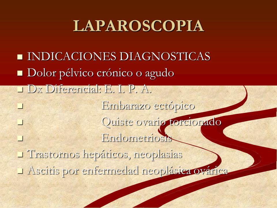 LAPAROSCOPIA EQUIPO 1.- PACIENTE EN POSICION DE 1.- PACIENTE EN POSICION DE LITOTOMIA Y TRENDELEMBURG LITOTOMIA Y TRENDELEMBURG 2.- BAJO ANESTESIA GENERAL 2.- BAJO ANESTESIA GENERAL