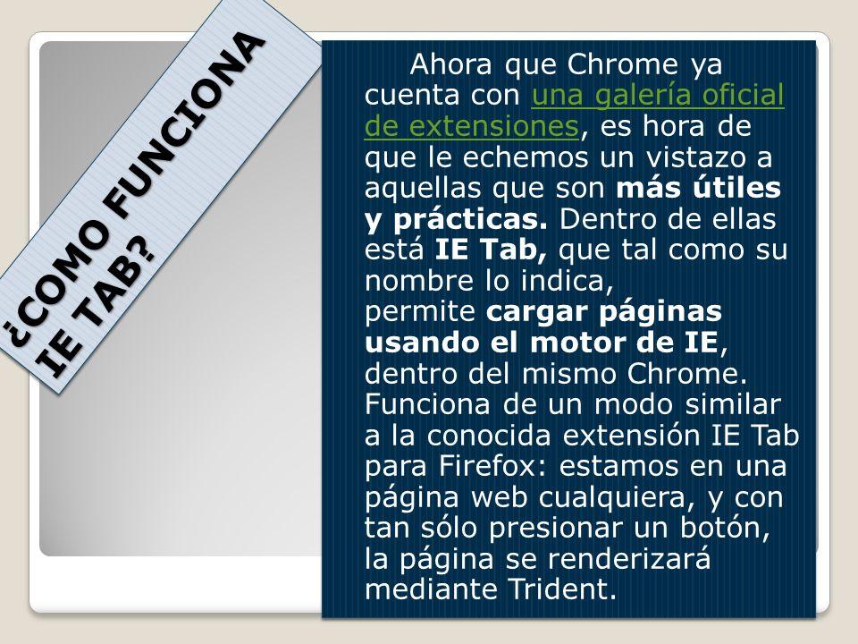 ¿COMO FUNCIONA IE TAB? Ahora que Chrome ya cuenta con una galería oficial de extensiones, es hora de que le echemos un vistazo a aquellas que son más