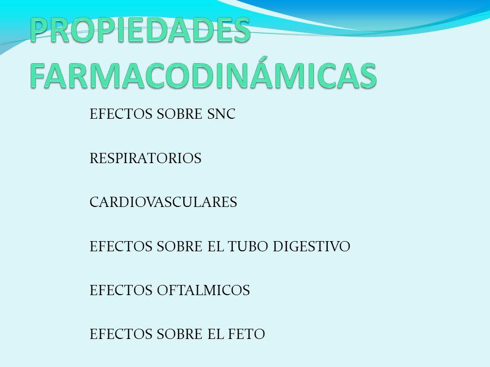 EFECTOS SOBRE SNC RESPIRATORIOS CARDIOVASCULARES EFECTOS SOBRE EL TUBO DIGESTIVO EFECTOS OFTALMICOS EFECTOS SOBRE EL FETO