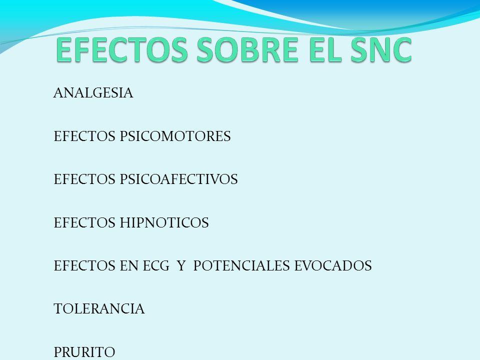 ANALGESIA EFECTOS PSICOMOTORES EFECTOS PSICOAFECTIVOS EFECTOS HIPNOTICOS EFECTOS EN ECG Y POTENCIALES EVOCADOS TOLERANCIA PRURITO