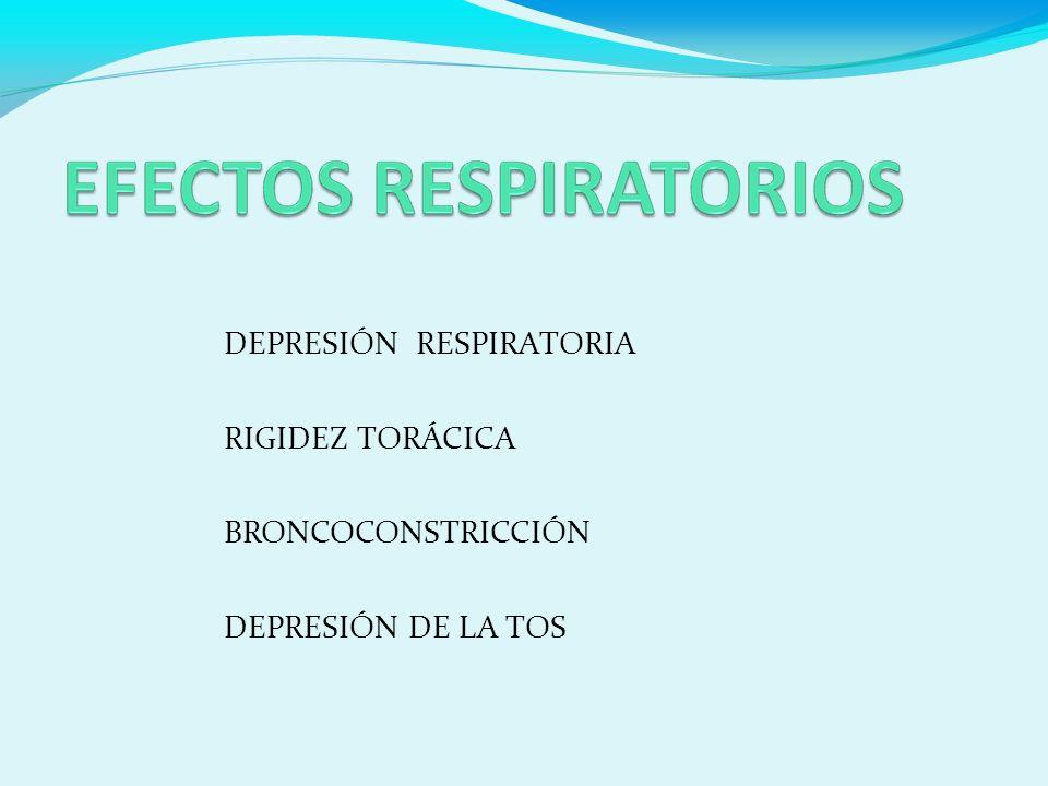 DEPRESIÓN RESPIRATORIA RIGIDEZ TORÁCICA BRONCOCONSTRICCIÓN DEPRESIÓN DE LA TOS