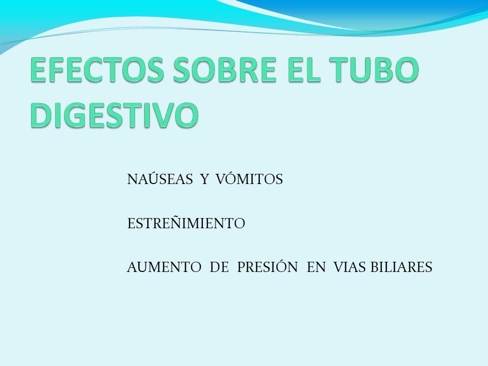 NAÚSEAS Y VÓMITOS ESTREÑIMIENTO AUMENTO DE PRESIÓN EN VIAS BILIARES
