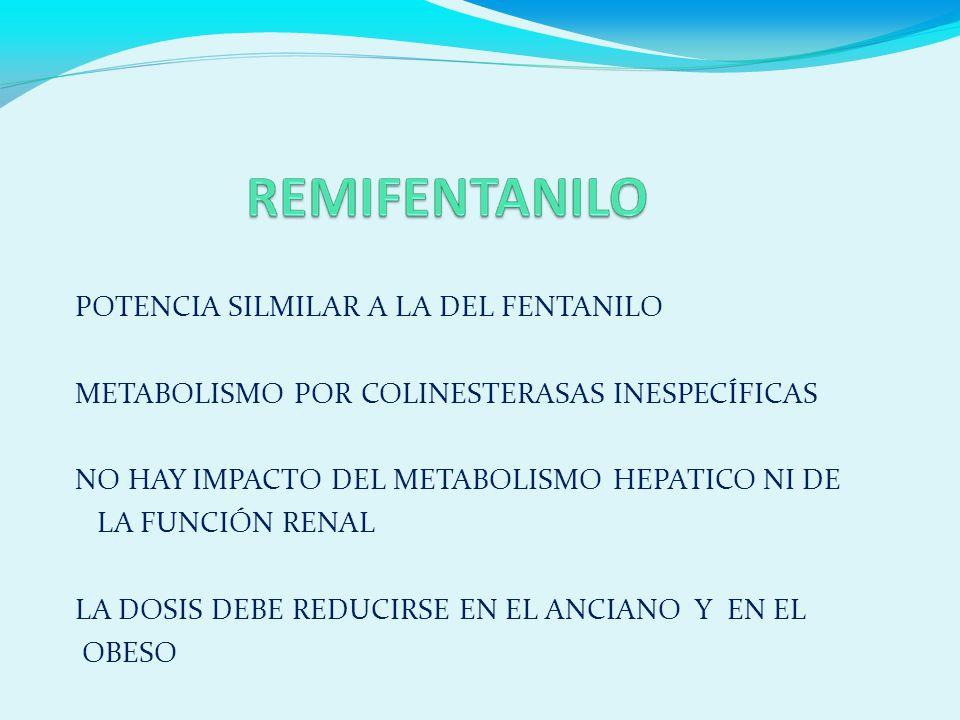 POTENCIA SILMILAR A LA DEL FENTANILO METABOLISMO POR COLINESTERASAS INESPECÍFICAS NO HAY IMPACTO DEL METABOLISMO HEPATICO NI DE LA FUNCIÓN RENAL LA DOSIS DEBE REDUCIRSE EN EL ANCIANO Y EN EL OBESO