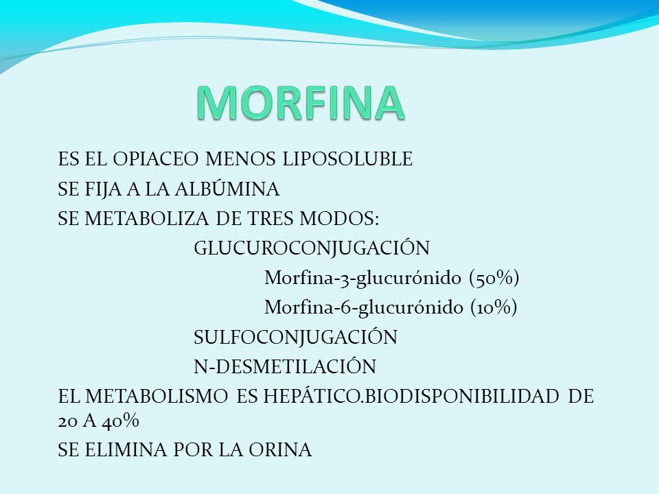 ES EL OPIACEO MENOS LIPOSOLUBLE SE FIJA A LA ALBÚMINA SE METABOLIZA DE TRES MODOS: GLUCUROCONJUGACIÓN Morfina-3-glucurónido (50%) Morfina-6-glucurónido (10%) SULFOCONJUGACIÓN N-DESMETILACIÓN EL METABOLISMO ES HEPÁTICO.BIODISPONIBILIDAD DE 20 A 40% SE ELIMINA POR LA ORINA
