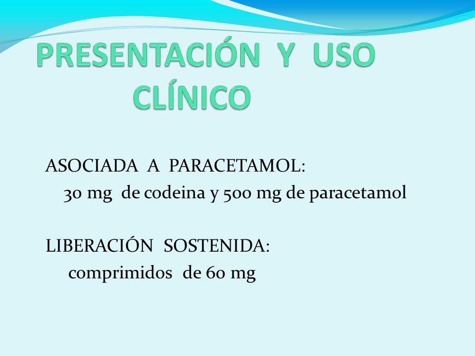 ASOCIADA A PARACETAMOL: 30 mg de codeina y 500 mg de paracetamol LIBERACIÓN SOSTENIDA: comprimidos de 60 mg
