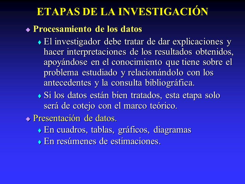 ETAPAS DE LA INVESTIGACIÓN Análisis e interpretación de los datos, Análisis e interpretación de los datos, Estas deben estar basadas en los datos obtenidos en los resultados del estudio.