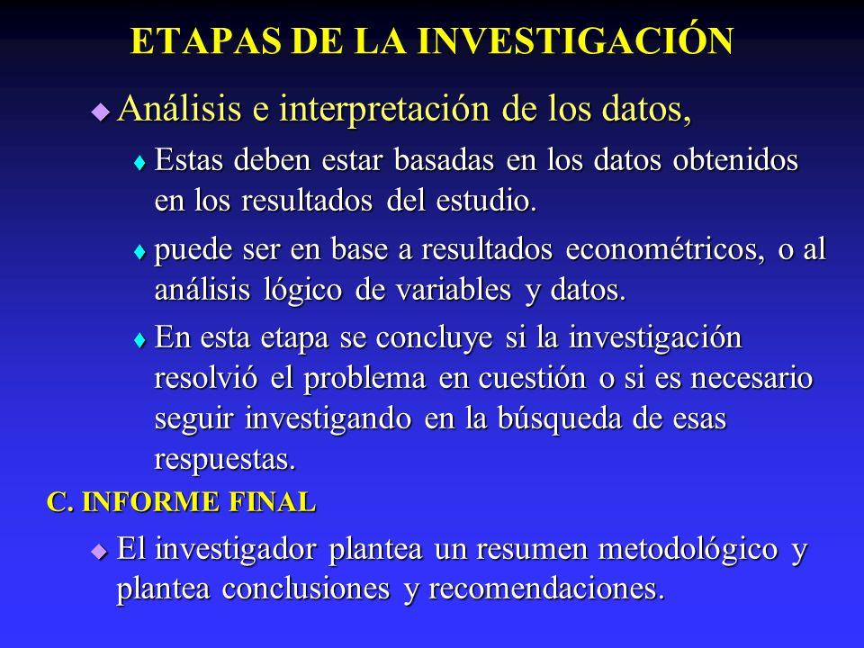 ETAPAS DE LA INVESTIGACIÓN Análisis e interpretación de los datos, Análisis e interpretación de los datos, Estas deben estar basadas en los datos obte