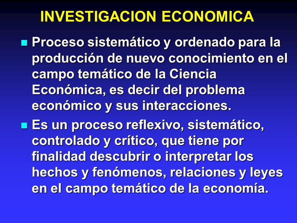 INVESTIGACION ECONOMICA Proceso sistemático y ordenado para la producción de nuevo conocimiento en el campo temático de la Ciencia Económica, es decir