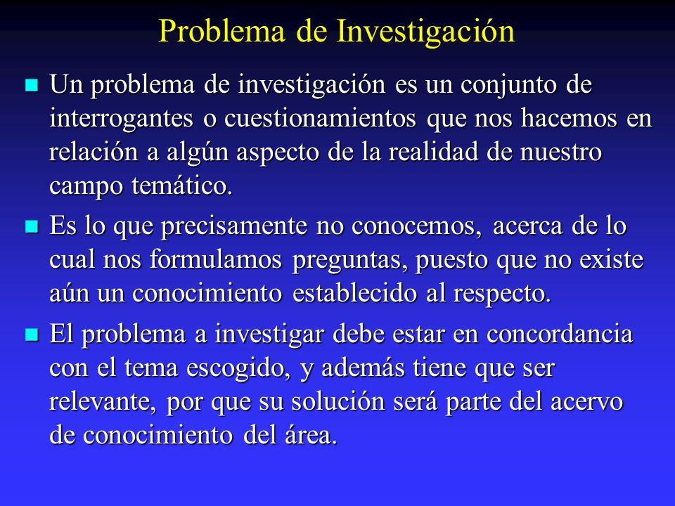 Problema de Investigación Un problema de investigación es un conjunto de interrogantes o cuestionamientos que nos hacemos en relación a algún aspecto