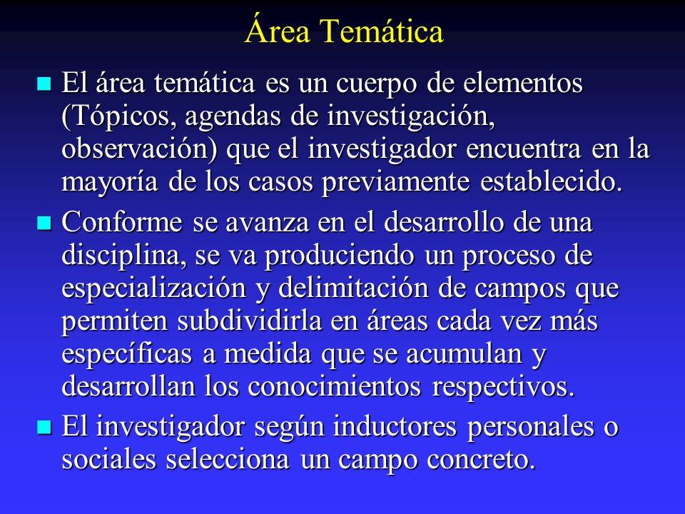 Área Temática El área temática es un cuerpo de elementos (Tópicos, agendas de investigación, observación) que el investigador encuentra en la mayoría