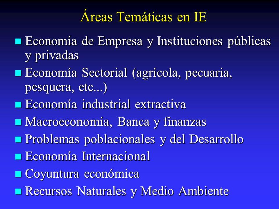 Áreas Temáticas en IE Economía de Empresa y Instituciones públicas y privadas Economía de Empresa y Instituciones públicas y privadas Economía Sectori