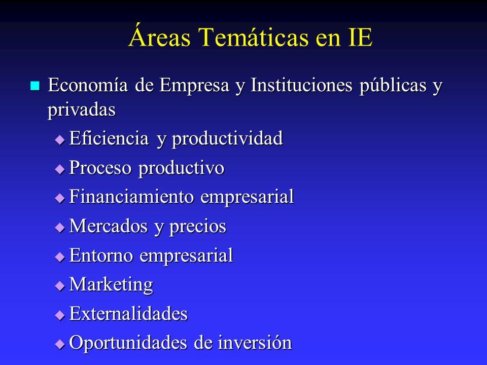 Áreas Temáticas en IE Economía de Empresa y Instituciones públicas y privadas Economía de Empresa y Instituciones públicas y privadas Eficiencia y pro