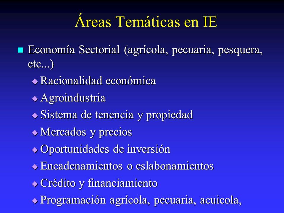 Áreas Temáticas en IE Economía Sectorial (agrícola, pecuaria, pesquera, etc...) Economía Sectorial (agrícola, pecuaria, pesquera, etc...) Racionalidad