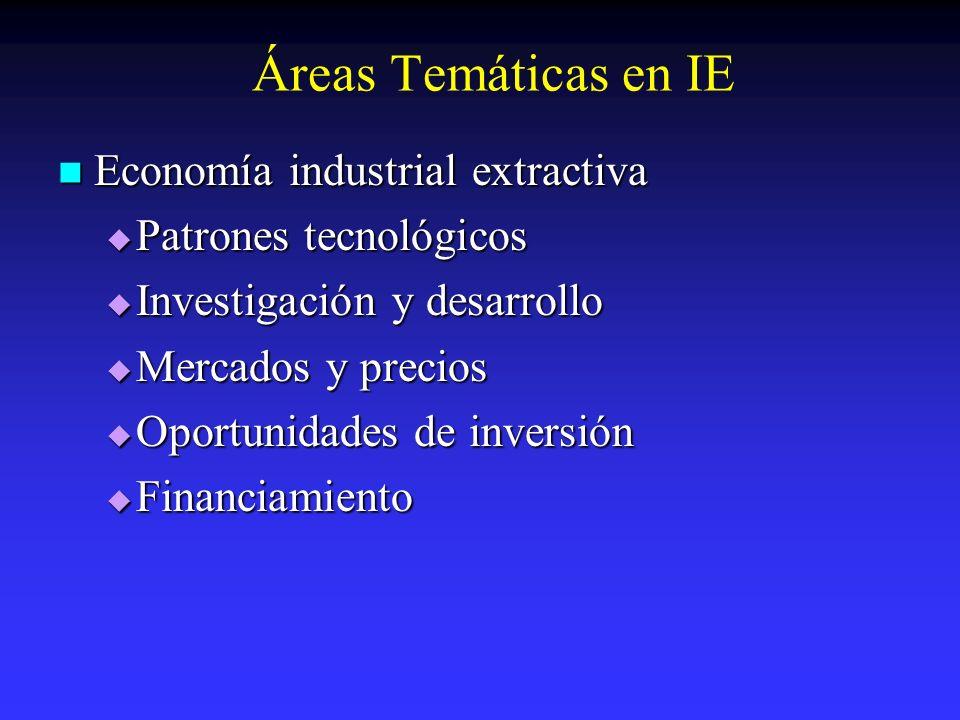 Áreas Temáticas en IE Economía industrial extractiva Economía industrial extractiva Patrones tecnológicos Patrones tecnológicos Investigación y desarr
