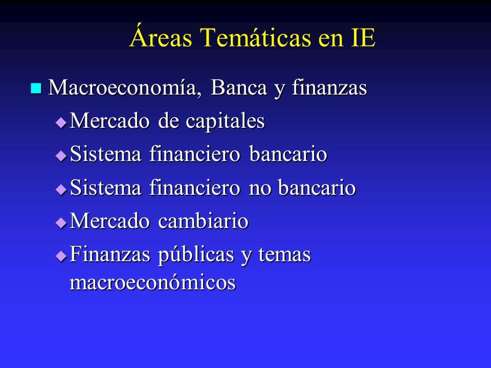 Áreas Temáticas en IE Macroeconomía, Banca y finanzas Macroeconomía, Banca y finanzas Mercado de capitales Mercado de capitales Sistema financiero ban