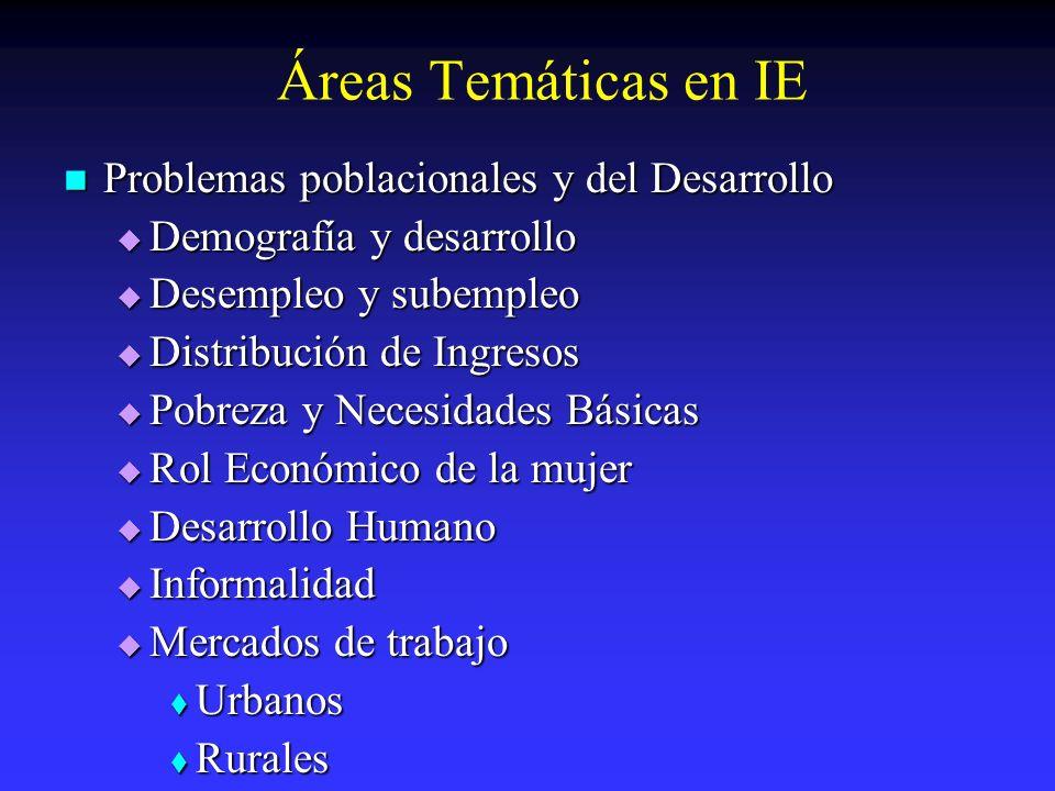 Áreas Temáticas en IE Problemas poblacionales y del Desarrollo Problemas poblacionales y del Desarrollo Demografía y desarrollo Demografía y desarroll