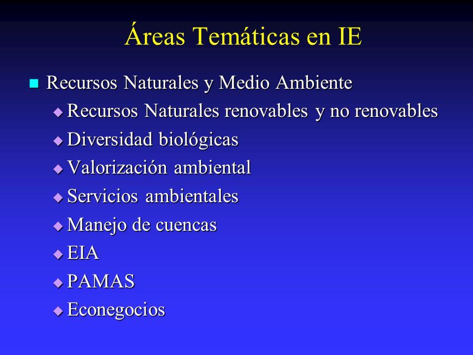 Áreas Temáticas en IE Recursos Naturales y Medio Ambiente Recursos Naturales y Medio Ambiente Recursos Naturales renovables y no renovables Recursos N