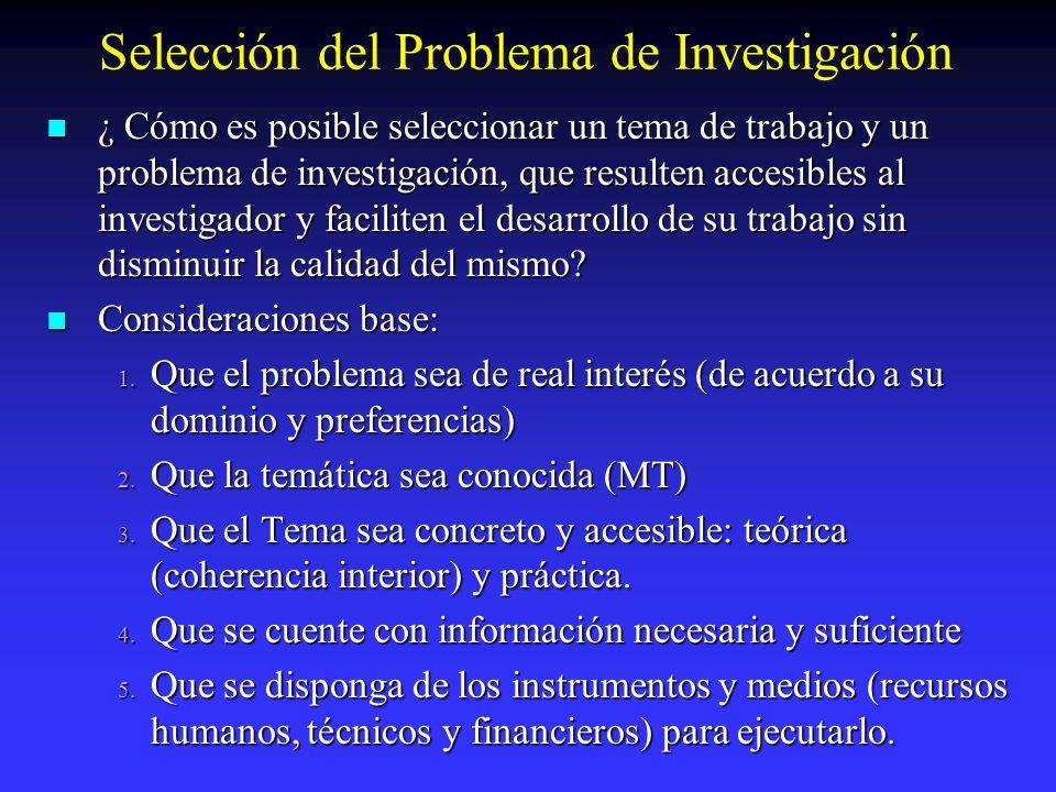 Selección del Problema de Investigación ¿ Cómo es posible seleccionar un tema de trabajo y un problema de investigación, que resulten accesibles al in