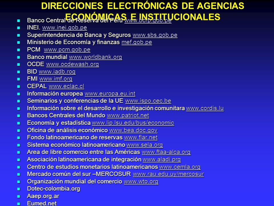 DIRECCIONES ELECTRÓNICAS DE AGENCIAS ECONÓMICAS E INSTITUCIONALES Banco Central de Reserva del Perú www.bcrp.gob.pe Banco Central de Reserva del Perú