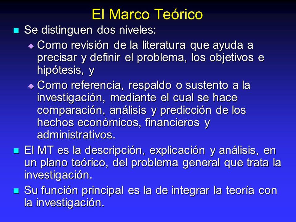 El Marco Teórico Se distinguen dos niveles: Se distinguen dos niveles: Como revisión de la literatura que ayuda a precisar y definir el problema, los