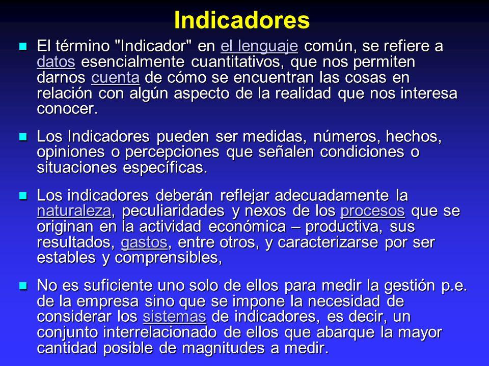 importancia de los indicadores: importancia de los indicadores: Permite medir cambios en esa condición o situación a través del tiempo.tiempo Facilitan mirar de cerca los resultados de iniciativas o acciones.