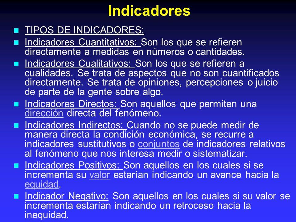 TIPOS DE INDICADORES: Indicadores Cuantitativos: Son los que se refieren directamente a medidas en números o cantidades. Indicadores Cualitativos: Son
