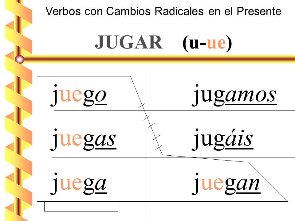 Verbos con Cambios Radicales en el Presente JUGAR (u-ue) juego jugamos juegas jugáis juega juegan