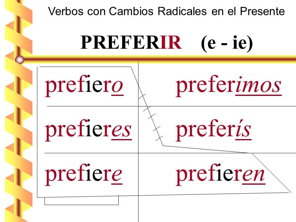 Verbos con Cambios Radicales en el Presente PREFERIR (e - ie) prefiero preferimos prefieres preferís prefiere prefieren