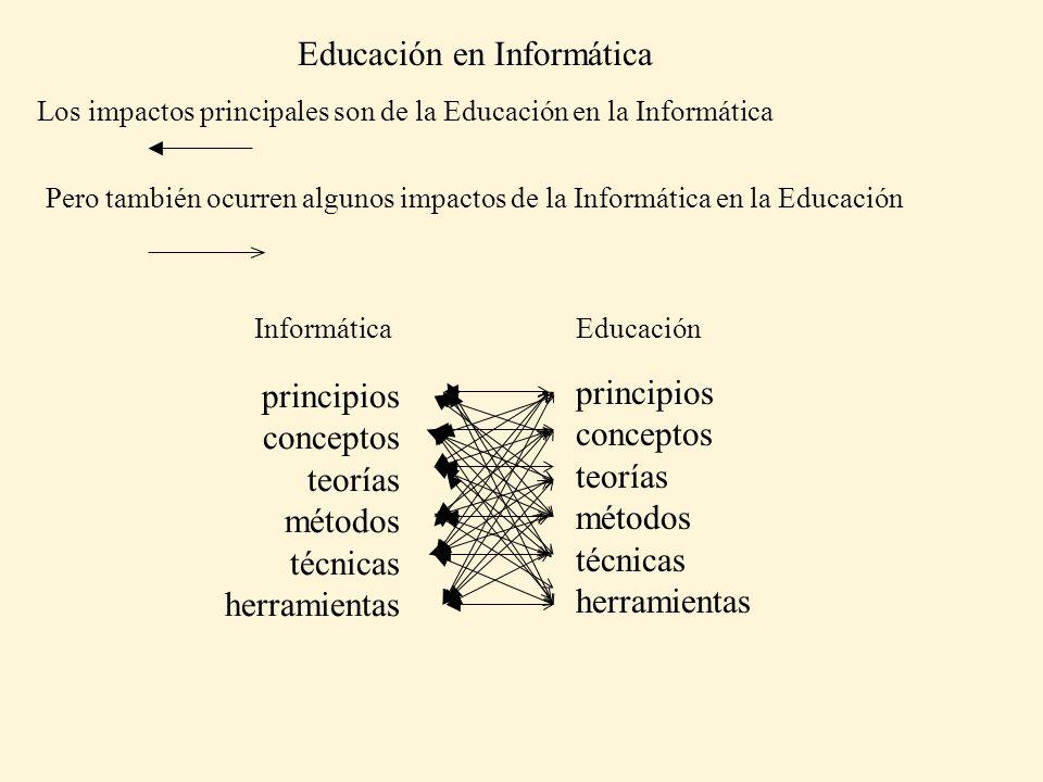 Educación en Informática Los impactos principales son de la Educación en la Informática Pero también ocurren algunos impactos de la Informática en la