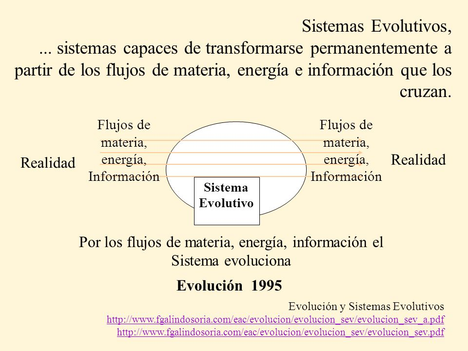 Sistemas Evolutivos,... sistemas capaces de transformarse permanentemente a partir de los flujos de materia, energía e información que los cruzan. Rea