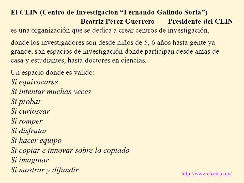 El CEIN (Centro de Investigación Fernando Galindo Soria) Beatriz Pérez Guerrero Presidente del CEIN es una organización que se dedica a crear centros