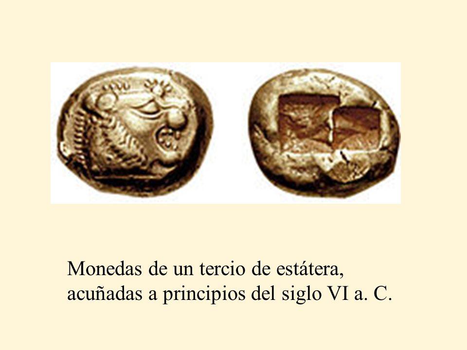 Monedas de un tercio de estátera, acuñadas a principios del siglo VI a. C.