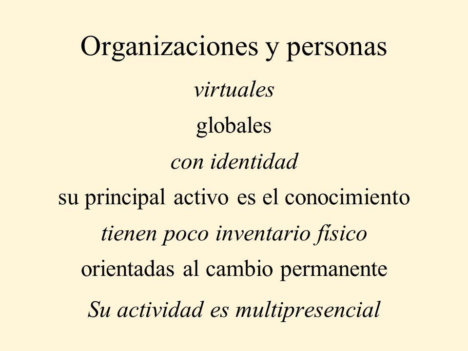 Organizaciones y personas virtuales globales con identidad su principal activo es el conocimiento tienen poco inventario físico orientadas al cambio p