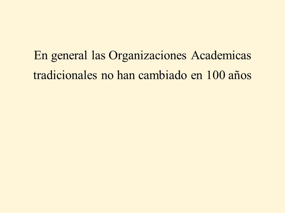 En general las Organizaciones Academicas tradicionales no han cambiado en 100 años