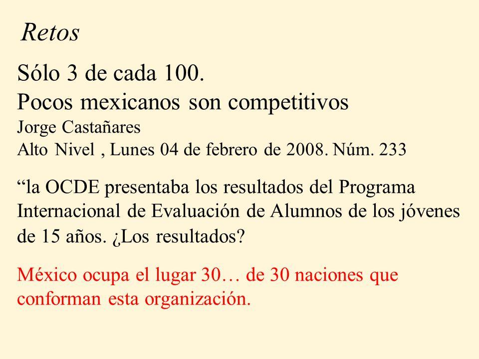 Sólo 3 de cada 100. Pocos mexicanos son competitivos Jorge Castañares Alto Nivel, Lunes 04 de febrero de 2008. Núm. 233 la OCDE presentaba los resulta